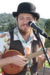 Charlie Mgee played 'ecological electroswing ukulele', with his songs designed around the 12 principles of permaculture.