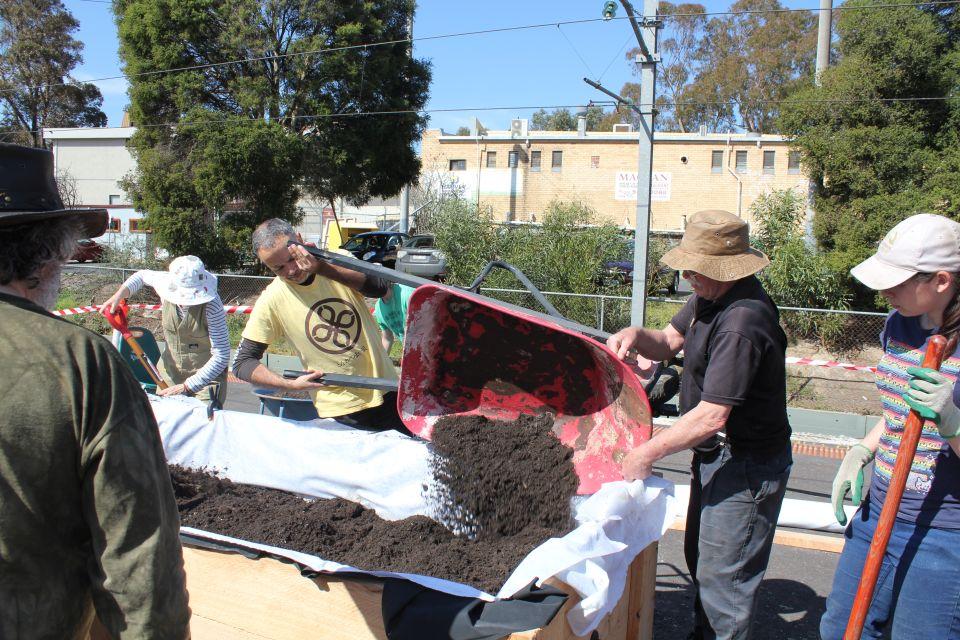 Adding the soil