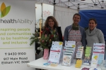 healthAbility's 'Eat well for health' stall features material on how to eat healthily.