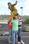 Simon Wright performed acrobatics and knife juggling, whilst balancing on a 10 foot unicycle!